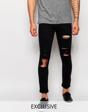 Liquor & Poker Состаренные джинсы скинни из черного эластичного денима. Цвет: черный