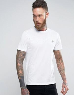 PS by Paul Smith Белая узкая футболка с логотипом. Цвет: белый