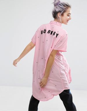 Lazy Oaf Длинная рубашка Go Away. Цвет: розовый