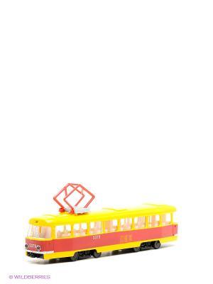 Трамвай Технопарк. Цвет: желтый, красный