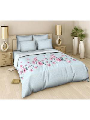 Комплект постельного белья из поплина 2 спальный Василиса. Цвет: голубой, серый