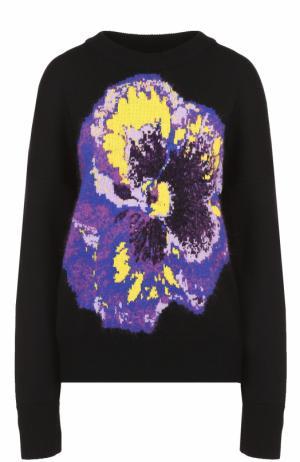 Пуловер прямого кроя с контрастным цветочным принтом Christopher Kane. Цвет: черный