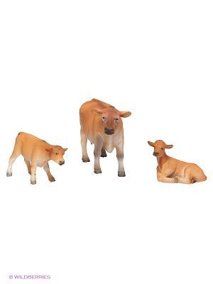 Набор фигурок AnimalPlanet мал. 3шт Джерсийские коров MOJO. Цвет: светло-коричневый