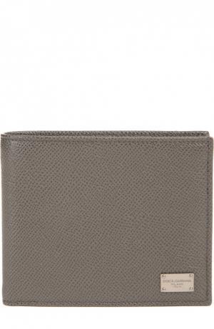 Кожаное портмоне с отделениями для кредитных карт и монет Dolce & Gabbana. Цвет: бежево-серый