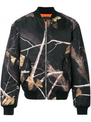 Куртка-бомбер  с принтом веток Alexander Wang. Цвет: чёрный