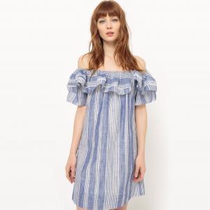 Платье короткое в полоску с короткими рукавами SUNCOO. Цвет: синий меланж