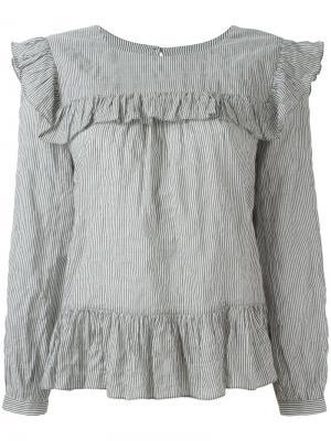 Блузка в полоску с оборками Masscob. Цвет: белый