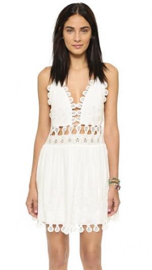 Кружевное мини-платье ONE by Honey Punch. Цвет: кокосовый