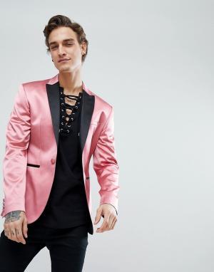 ASOS Розовый атласный приталенный блейзер. Цвет: розовый