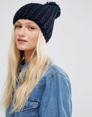 Hat Attack Шапка-бини с вязкой в стиле шевронов. Цвет: темно-синий