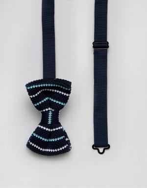 7X Трикотажный галстук-бабочка в полоску. Цвет: темно-синий