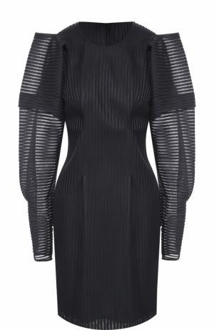 Приталенное мини-платье с объемными рукавами Rubin Singer. Цвет: темно-синий