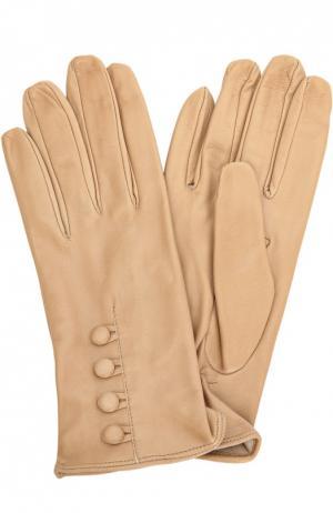 Кожаные перчатки с декоративными пуговицами Sermoneta Gloves. Цвет: светло-бежевый