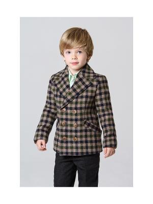 Пальто укороченное MORU. Цвет: зеленый, светло-коричневый