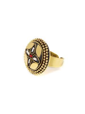 Кольцо Мраморный цветок MZ0286 Indira. Цвет: темно-бежевый, бежевый