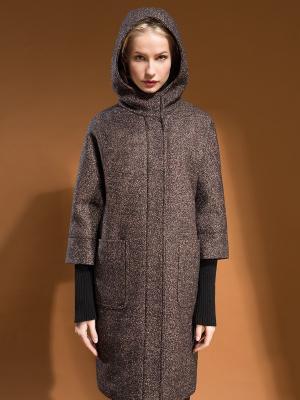 Пальто Pompa. Цвет: темно-коричневый