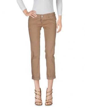 Джинсовые брюки-капри DSQUARED2. Цвет: песочный