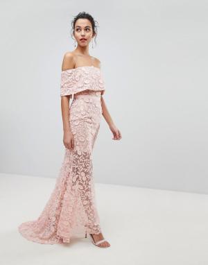Jarlo Платье макси с широким вырезом и вышивкой. Цвет: розовый