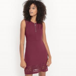 Платье, низ с перфорацией SUD EXPRESS. Цвет: бордовый