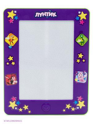 Магнитная доска для рисования  Лунтик, черно-белый в форме планшета Играем вместе. Цвет: фиолетовый