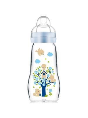 Бутылочка для кормления стеклянная, 260 мл + сменная соска-насадка в подарок MAM. Цвет: голубой