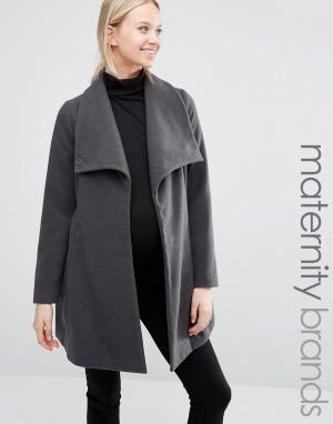Mama.licious Куртка для беременных с драпировкой Mamalicous. Цвет: серый