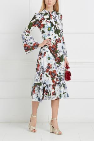 Шелковое платье Connie Erdem. Цвет: белый, голубой, зеленый
