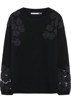 Пуловер из смеси шерсти и кашемира с кружевными вставками Alice + Olivia. Цвет: черный