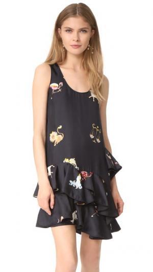 Платье с зодиакальным принтом и разноцветной оборкой Cynthia Rowley. Цвет: черный мульти