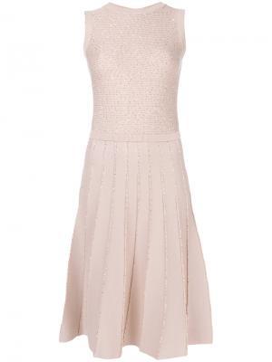 Вязаное платье с отделкой пайетками Oscar de la Renta. Цвет: розовый и фиолетовый