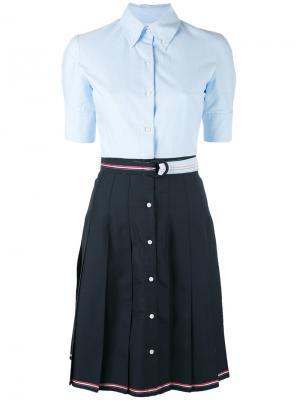 Плиссированное платье-рубашка Thom Browne. Цвет: синий