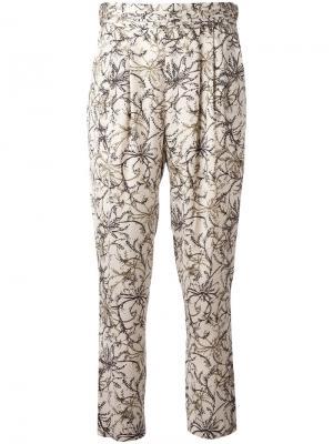 Укороченные брюки с цветочным узором Steffen Schraut. Цвет: телесный