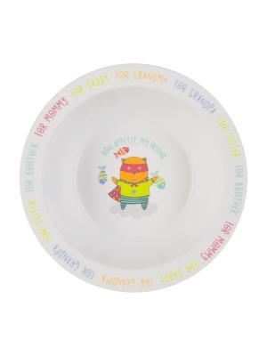 Тарелка глубокая с присоской Happy Baby. Цвет: желтый