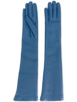 Длинные кожаные перчатки Salvatore Ferragamo. Цвет: синий