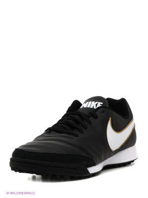 Шиповки TIEMPO GENIO II LEATHER TF Nike. Цвет: черный