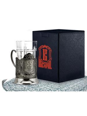 Набор для чая никелированный с чернью 55 лет (подстаканник + стакан футляр) Кольчугинъ. Цвет: серебристый