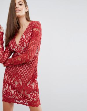 Stylestalker Кружевное платье миди с V-образным вырезом и длинными рукавами Stylest. Цвет: красный