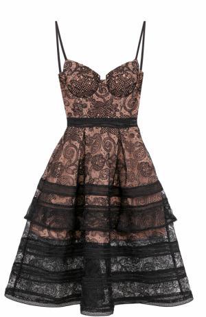 Приталенное кружевное платье-миди self-portrait. Цвет: черный
