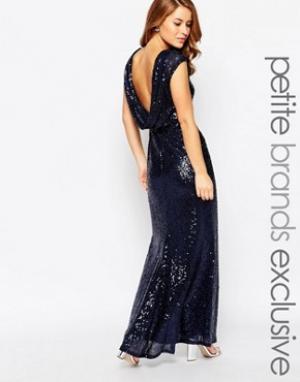 Lipstick Boutique Petite Платье макси с отделкой пайетками. Цвет: темно-синий