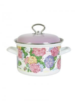 Кастрюля цил. смет. кр. 4,5 литра Nikolet Лысьвенские эмали. Цвет: белый, розовый