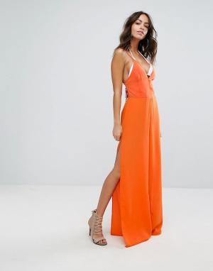 PrettyLittleThing Комбинезон с широкими штанинами и разрезами. Цвет: оранжевый