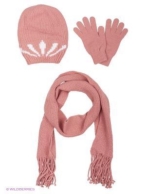 Шапка;  шарф; перчатки Krife. Цвет: розовый, белый