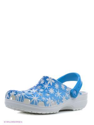 Сабо CROCS. Цвет: голубой, белый