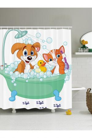 Штора для ванной, 180x200 см MAGIC LADY. Цвет: белый, салатовый