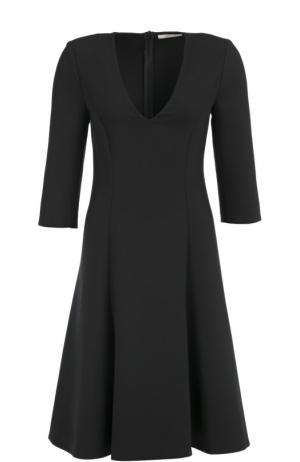 Приталенное платье с укороченным рукавом и V-образным вырезом Dorothee Schumacher. Цвет: черный