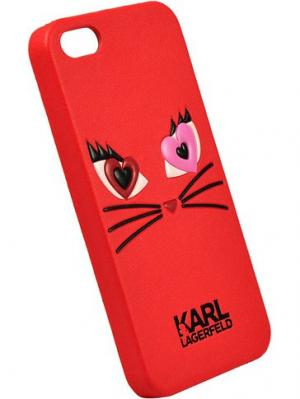 Чехол Lagerfeld для iPhone 5S/SE Choupette in love 2 Hard PU Red Karl. Цвет: красный