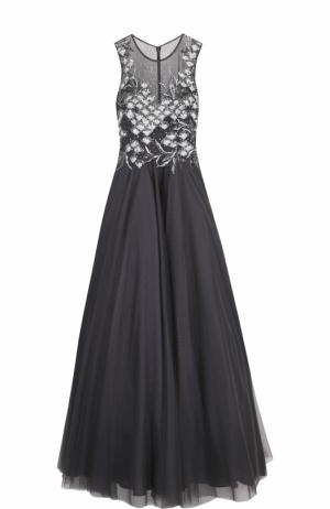 Приталенное платье-макси с пышной юбкой и вышивкой Basix Black Label. Цвет: серый