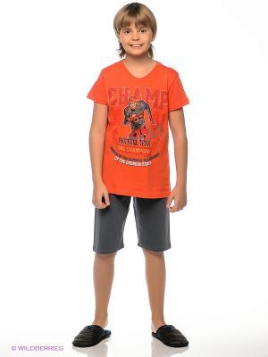 Пижама Vienetta Secret. Цвет: серый, оранжевый