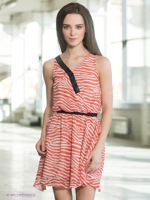 Платье Formalab. Цвет: коралловый, белый