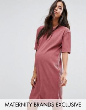 Missguided Maternity Фактурное платье‑футболка для беременных в стиле oversize M. Цвет: фиолетовый